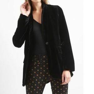 NWT Gap Black velour velvet like jacket blazer Med